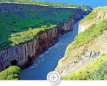A ravine at the Gullfoss Waterfall